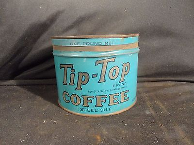Vintage 1 Lb Blue Tip Top Coffee Tin Can Key Wind Dwinell - Wright, Has Key