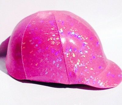 Horse Helmet Cover Pink Shattered Glass Lycra AUSTRALIAN  MADE
