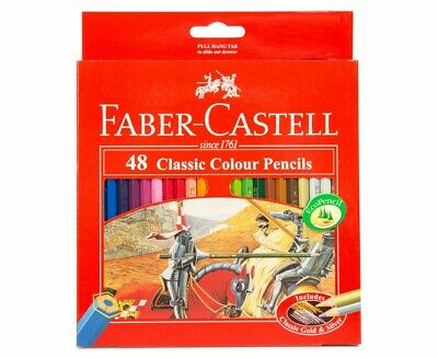 48 FABER CASTELL Classic Colour Pencil Art Colouring Coloured Pencils + SHAPENER