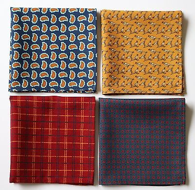 Wool & Silk blend Hand printed pocket square handkerchief Hand made in England