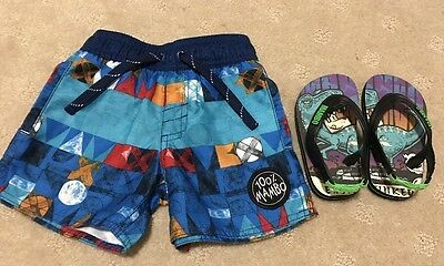 Mambo Boys Toddler Swim Shorts Boardies Size 00 And 000 And Thongs