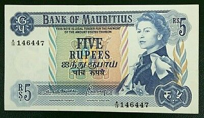 BANK OF MAURITIUS 5 RUPEES BANKNOTE 1967 P30b aEF
