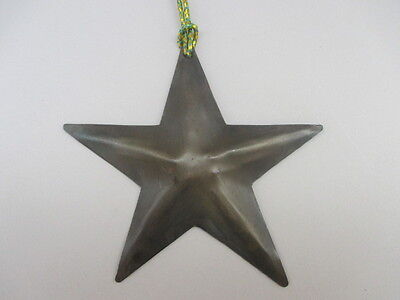 Vintage Handmade Metal Five Pointed Texas Star Hanging Christmas Ornament 4.25""