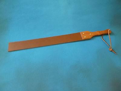 "Heavy Leather Punishmen Strap wood handle 8mm thick 64mm x 690mm 2½""x27"" (cane)"