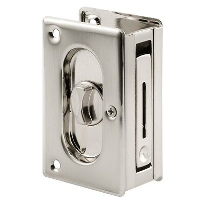 Prime-Line Products N 7367 Pocket Door Privacy Lock with Pull, 3-3/4-Inch, Satin