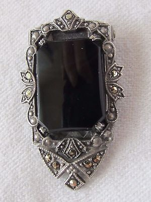 Estate Art Deco Signed Sterling Silver Onyx & Marcasite Dress Fur Scarf Clip