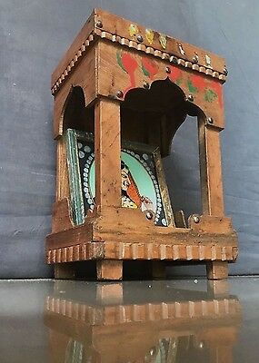 Antique/vintage Indian Wooden Home Temple. Sacred Hindu Shrine. Waxed Teak.