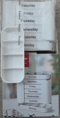 7 Day Pill Organiser Dispenser - Weekly - 4 Large Compartments x7 & Dock