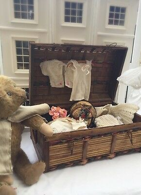 Antique Doll Trunk Toy Clothes Chest