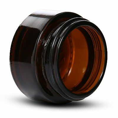 New 4X 50g Amber Glass Jars Black Wadded Lid Creams DIY Cosmetics Candles Spices