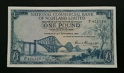 National Commercial Bank Of Scotland 'blue' £1 One Pound Banknote P265 1959 Ef