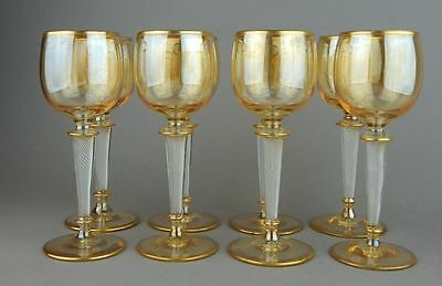 Eight St. Louis Gold Gilt Champagne Crystal Goblets w. Air Twist Stems