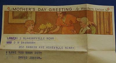 Vintage Western Union Mothers Day 1930's Telegram and Envelope
