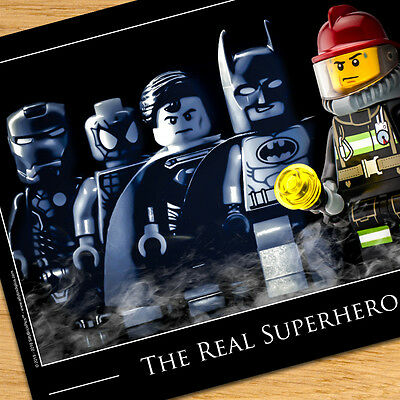 Firefighter Gift for Firefighters, LEGO Fireman Superhero Art, Firefighter Decor
