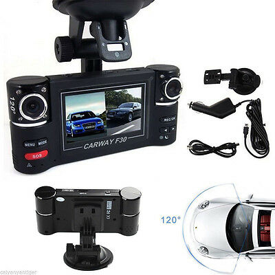 """CARWAY F30 HD 2.7"""" 16:9 LCD Dual Rotated Lens DVR Dash Cam Recorder"""