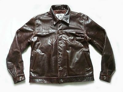 Stunning Vintage Heavy Leather Motorcycle Biker Trucker Jacket - Xl - Rare Vgc