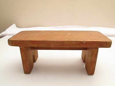 Vtg Antique Small Pine Footstool Cricket Bench Boot Jack Doll Bear Display