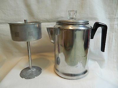 Vintage Aluminum Camp Coffee Pot 9 cups Century made in USA