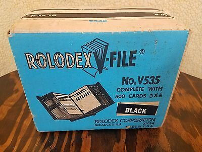 "VINTAGE BLACK Rolodex V-file No.V-535~ W/500 3""x5"" CARDS.-NEW in BOX-SEALED!"