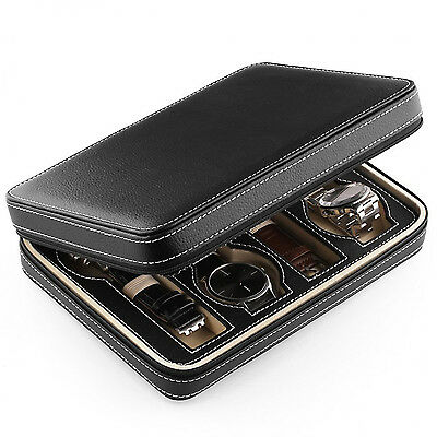 Watch winder grid box Leather display storage case Zippered travel tray organize