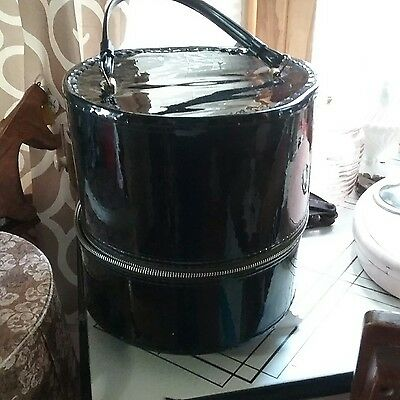Vintage Hat Box with Handle, Round, Black, Zippered, 1958