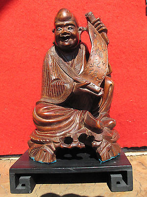 A1183 Antique Chinese Hand Carved Wood Monk Holding a Prayer Statue w Stand