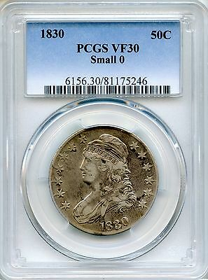 1830 Capped Bust Half Dollar PCGS VF30 Small 0 ~ 50c O-116 (81175246)