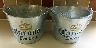 Corona Metal Ice Bucket X 2 - New - Home Bar Pub Drinks Spirit Pair Two Planters