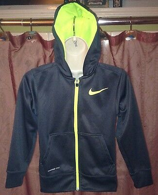 NIKE.  Kids Therma Fit Sz S Gray / Neon SWOOSH FULL ZIP HOODIE