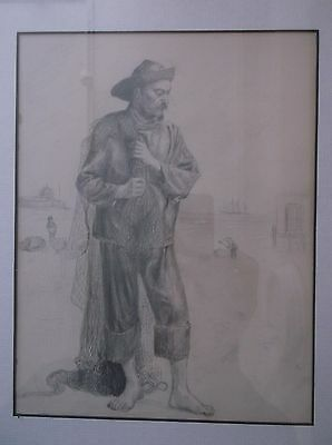 Antique Early 19Th Century Graphite Drawing A Study Of A Chinese Fisherman