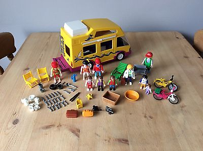 Vintage Playmobil Camper Van Campervan 3945 10 Figures And Accessories