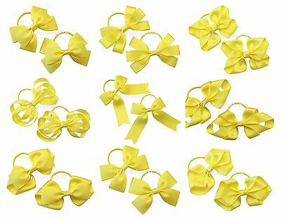 Yellow grosgrain ribbon hair bows on thin bobbles or clips, toddler hair bows