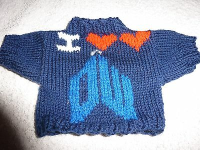 Bn Hand Knitted I Heart Heart Doctor Who Jumper To Fit Build A Bear