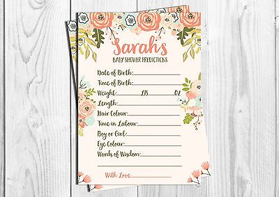 PERSONALISED Baby Shower Prediction Cards, Girl, Boy, Neutral, Floral.