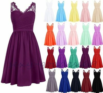 Short Chiffon Bridesmaid Formal Gown Ball Party Evening Prom Dresses Stock Size
