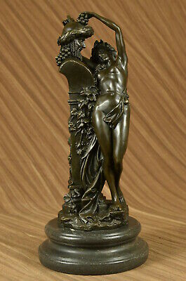 Art Deco Fantasy Satyr with Nude Nymph Bronze Sculpture Marble Base Figure Deco