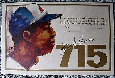"Hank Aaron Autographed- ""I Was There When Hank Hit 715"" Certificate-In Person"