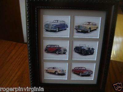 Rolls Royce  - 6  Reproduction Trade Cards In A Frame