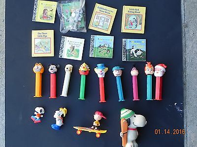 Pez Dispensers, Snoopy, Little Golden Books Charlie Brown assortment of toys