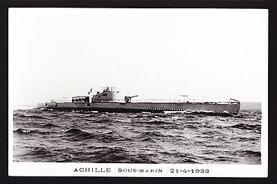 French Submarine Achille Real Photo Postcard 1933 Sous-Marin France Navy War PC
