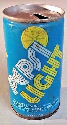 Vintage Pepsi Light Cola & Lemon Collectible 1970 Straight Steel Opened Soda Can