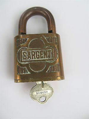 Old Vintage Antique Hardware Lock Ornate SARGENT Brass Padlock WITH KEY