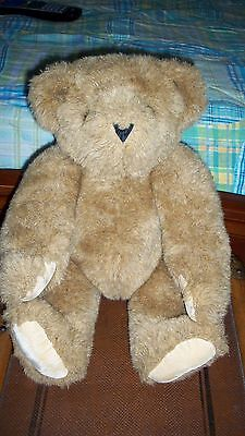 """Vintage 15"""" Vermont Teddy Bear Fully Jointed Tan Plush Stuffed Animal Lovey Toy"""