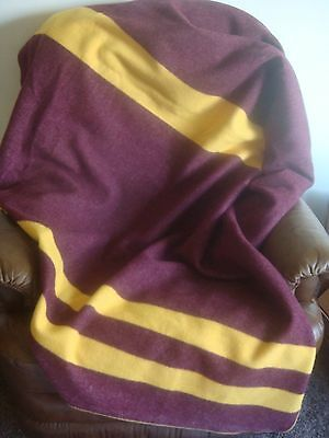 NWOT Faribault Mills 100% wool blanket Heirloom maroon gold reversible 83x64 NEW