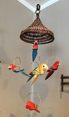 Vintage Wood Hand Carved & Painted 6 Hanging Parrots Perched Wicker Birds