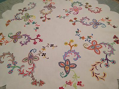 Vintage Hand Embroidered Tablecloth STUNNING JACOBEAN EXOTIC FLOWERS