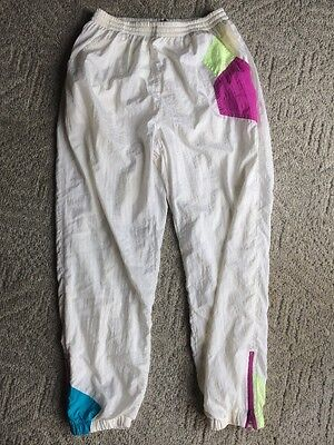 Vintage 80s Women's Wind Pants Track Pants Size Large Easy West With Neon