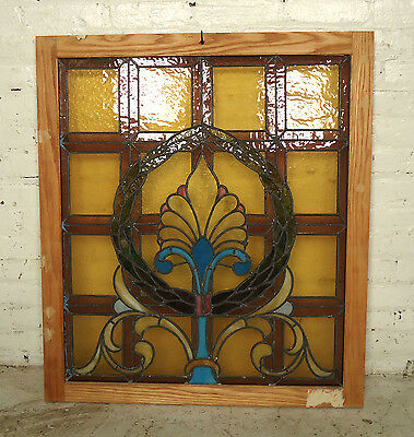 Beautiful Vintage Antique Stained Glass Window (06223)NS