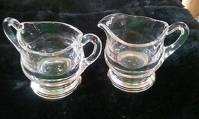 Glass/Sterling Creamer and Sugar, vintage