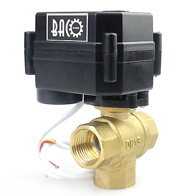 "BACOENG 3 Way 1/2"" BSP Brass 12VDC CR01/02/05 Motorized Electric Ball Valve"